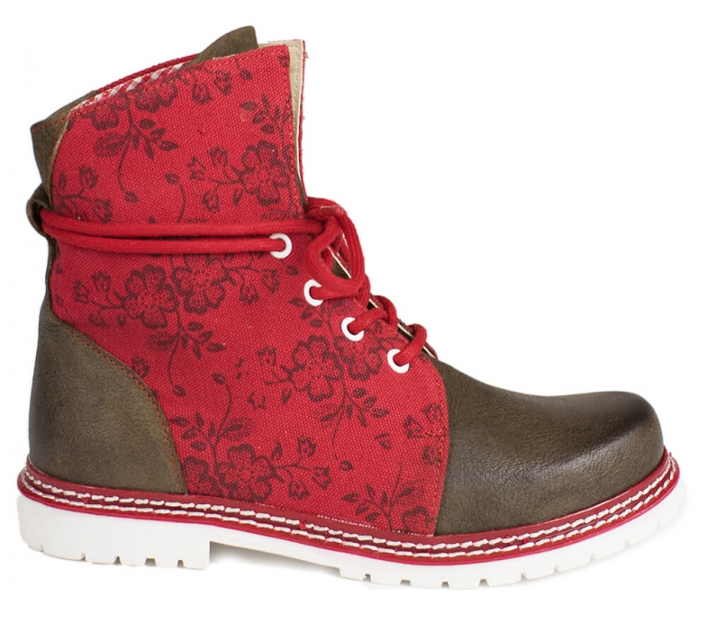 Traditional bootee D469 Janina red rustik
