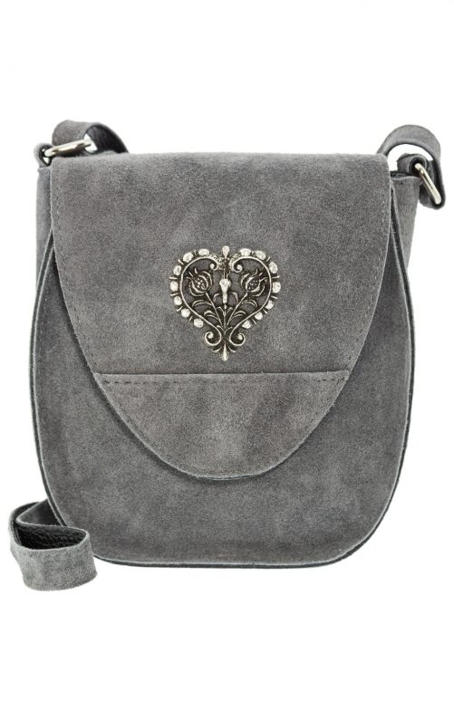 Traditional leather bag with heart gray