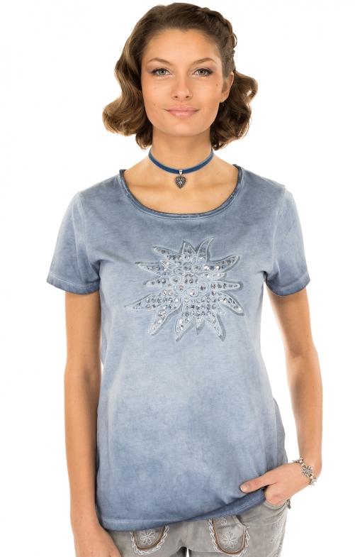 Trachten Shirt K04-EDELWEISScountryblue