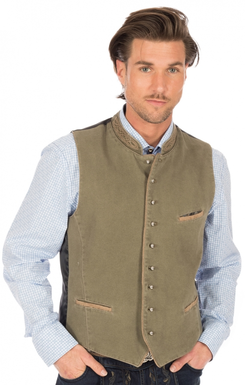 Traditional waistcoat with welt pockets ROCKY green