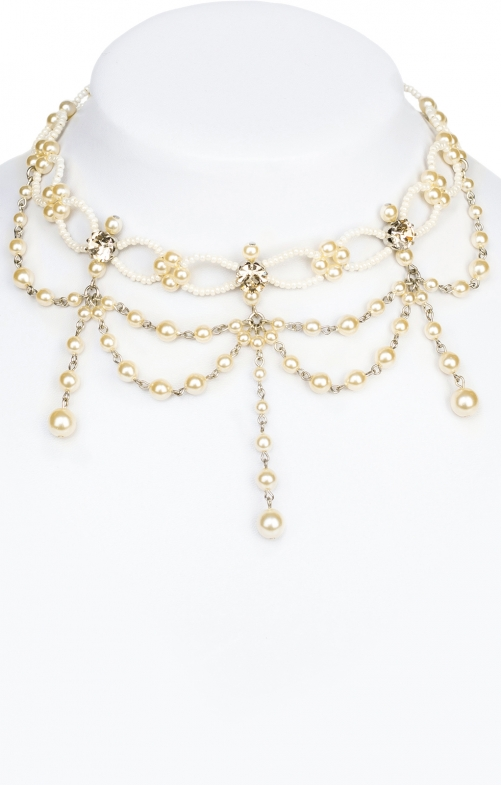 Glass pearls collier 12223 white