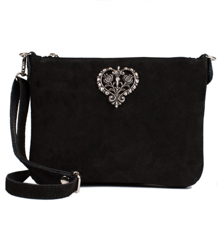 Traditional dirndl bag with metal heart TA30540-8525, black