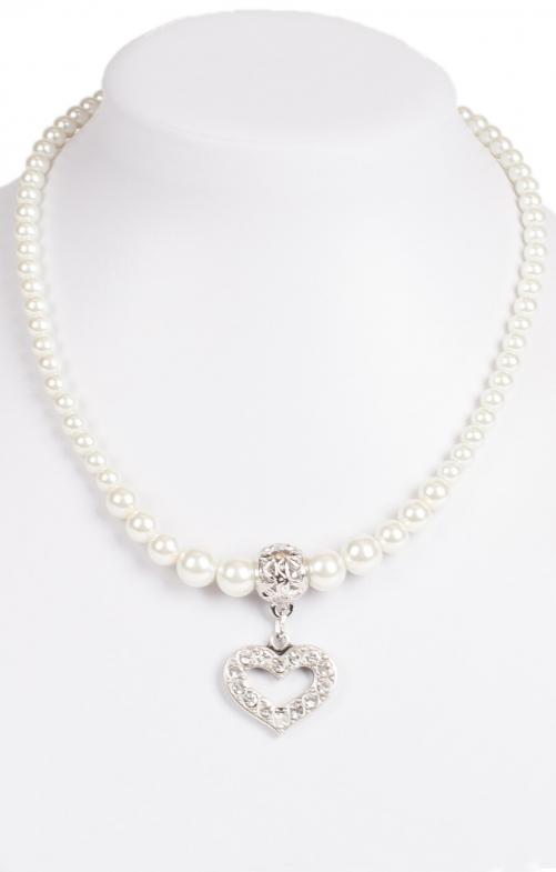 Beaded necklace with heart pendant 14007-9534