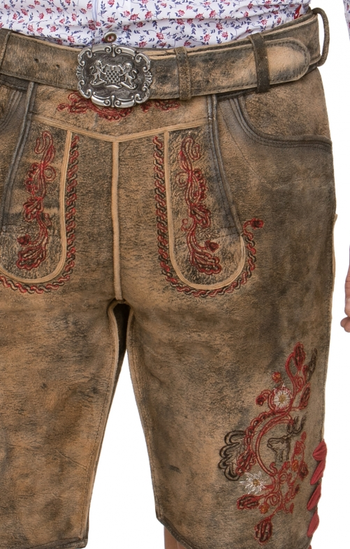 German leather trousers with belt ARON hanf brown red