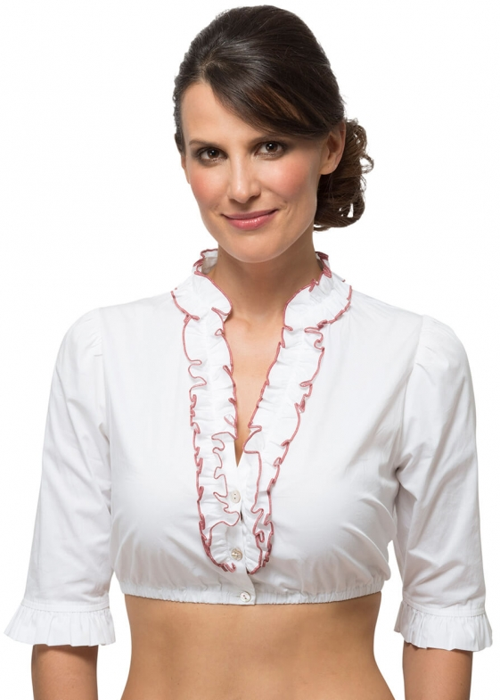 Traditional dirndl blouse B8030 white bordeaux