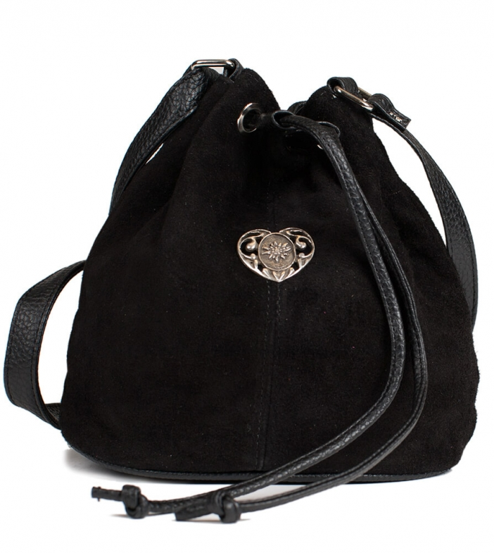 Traditional dirndl bag with metal heart TA30210-8568, black