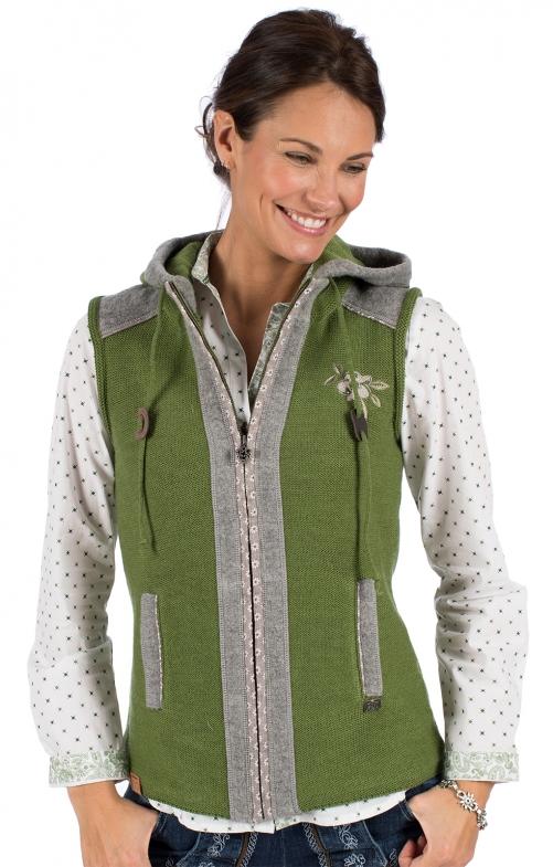 Knitted vest GRAIN green