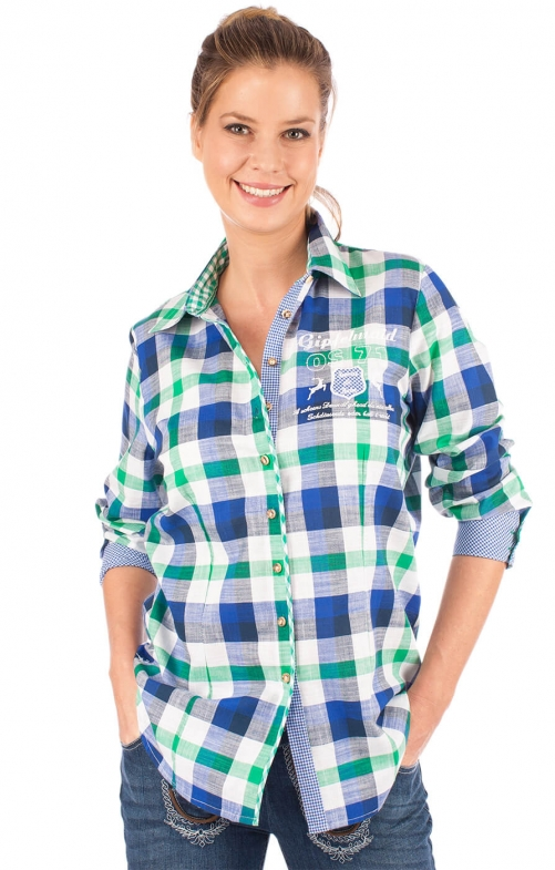 Traditional blouse 950000-3259-56 green blue