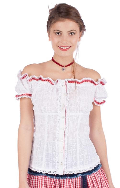 Traditional blouse 33840-1 white red