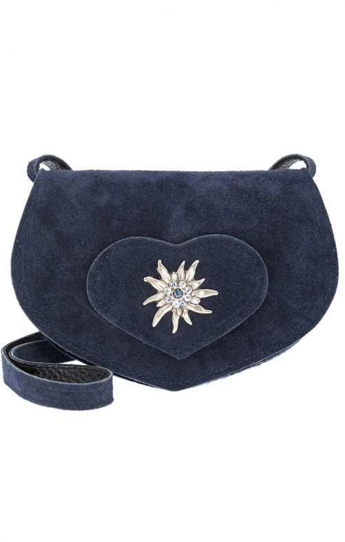 Traditional leather bag with heart marine