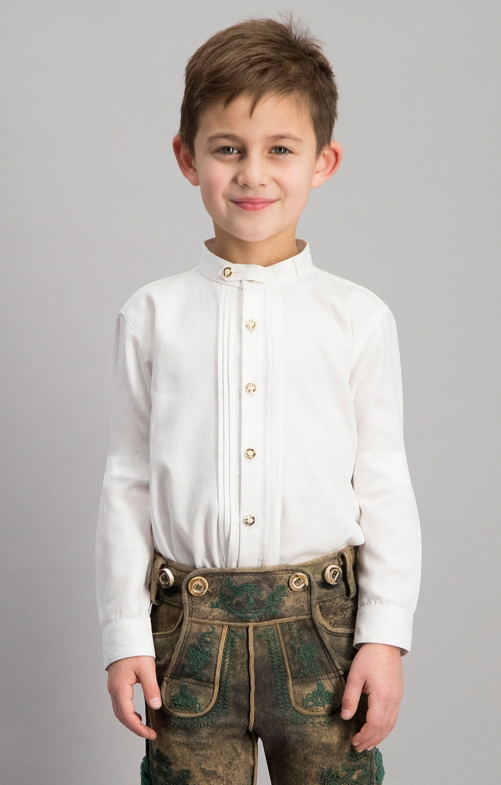 Children traditional shirt LEON junior white