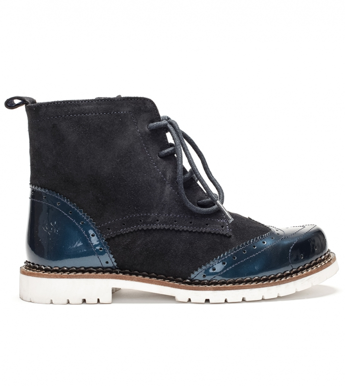 Traditional bootee D430 Jelka Lack Crosta blue
