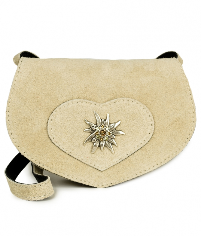 Traditional leather bag with heart TA30110-9196 natur
