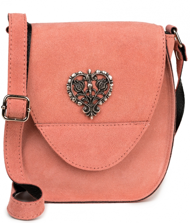 Traditional leather bag with heart pink