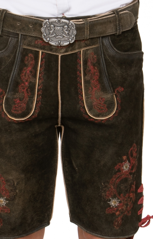 German leather trousers with belt Aron brown red