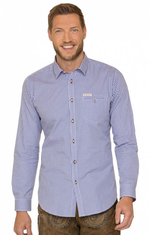 German traditional shirt DAVE4 azure