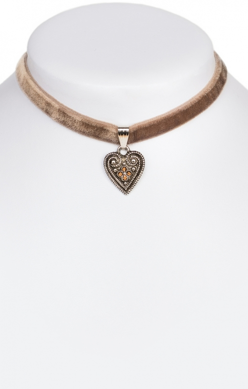 Traditional necklace with heart 9197-SB brown