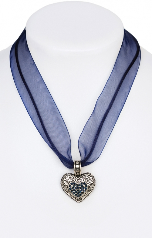 Traditional necklace with heart blue