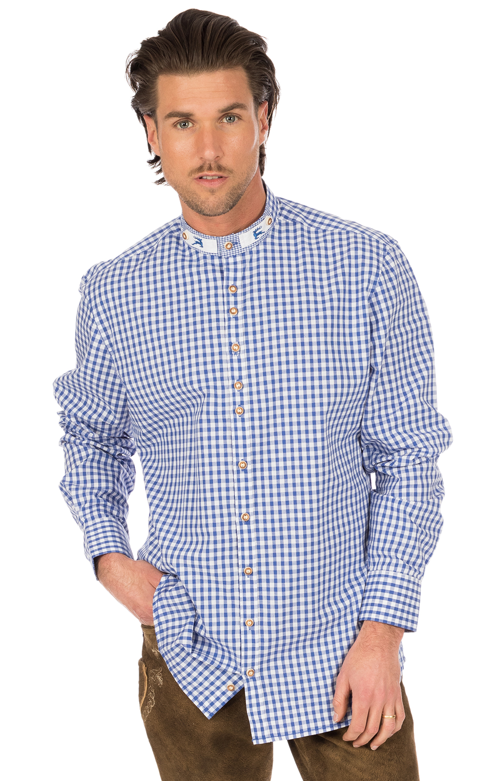 German traditional shirt Pfoad blue von OS-Trachten