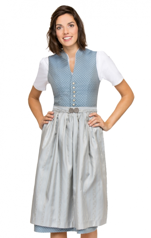 German Midi dirndl 2pcs. Eloise blue brown 70 cm