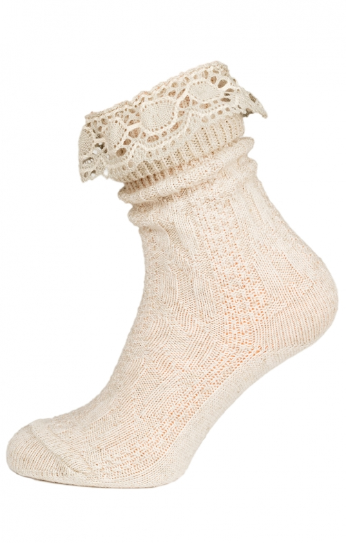 Traditional socks with lace CS530 nature