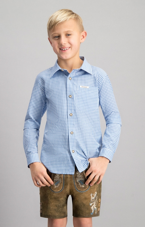 Children traditional shirt DAVE junior blue