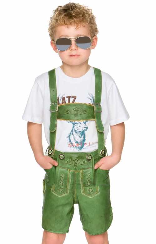 Chlidren leather trousers short P-200 greenapple