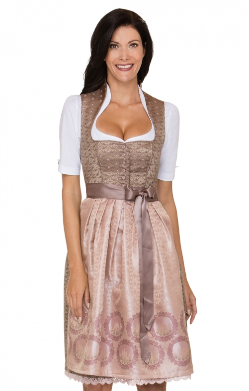 German Midi dirndl 2pcs. Morena brown pink 65 cm