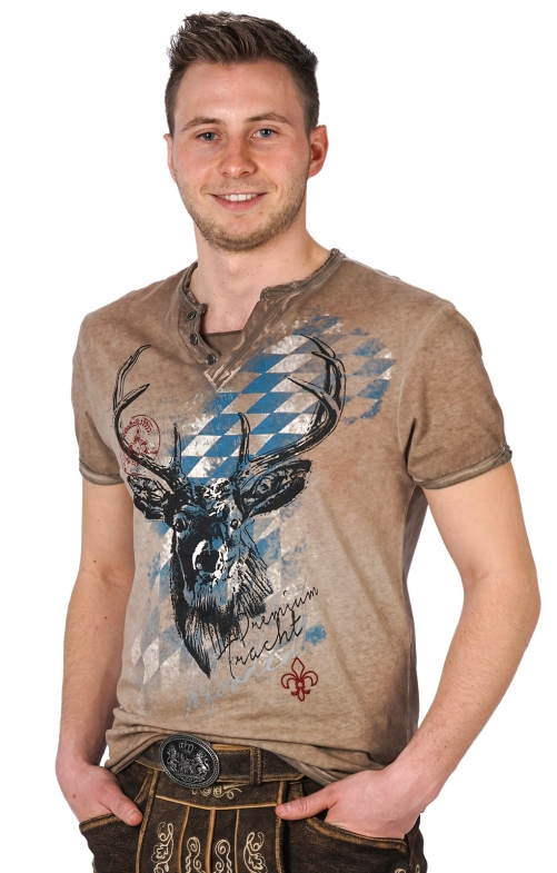 Traditional German T-Shirt FERDI Bavaria brown