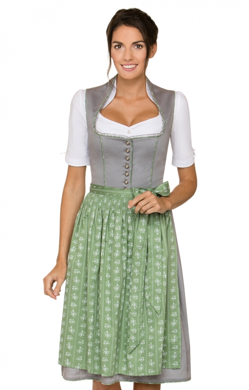 German Midi dirndl 2pcs. Romana black green 65 cm