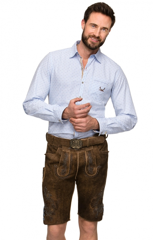 German leather trousers with belt ARON blue