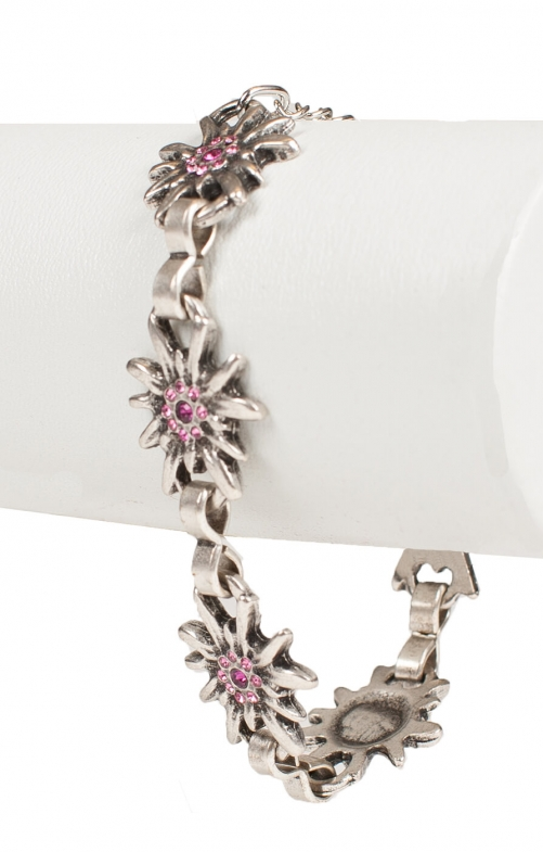 Bracelet AB9197-5 with edelweiss, pink