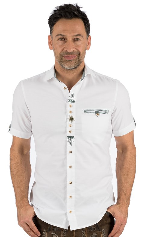 German traditional shirt arms short 421011-2797-1 white