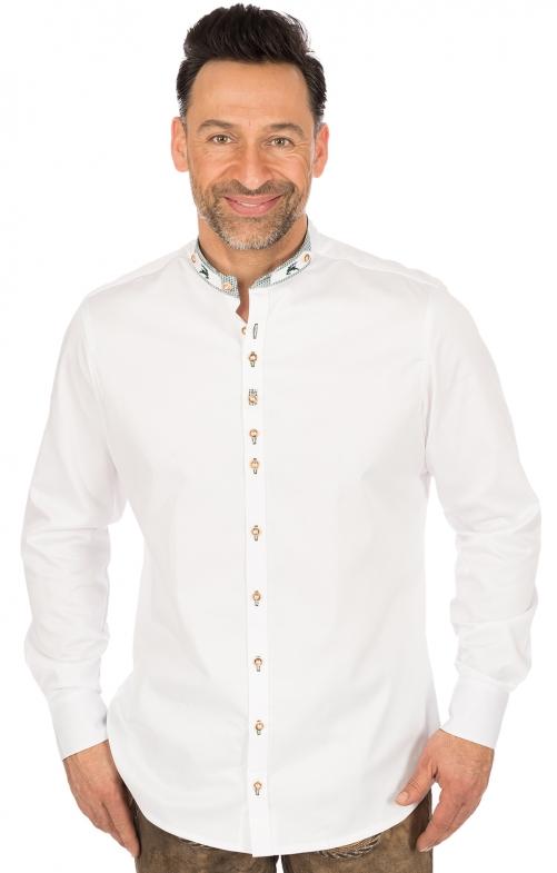 Trachtenhemd Slim Fit Stehkragen weiss