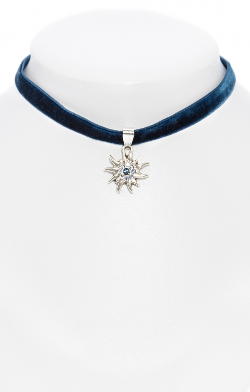 Traditional necklace Edelweiss marine
