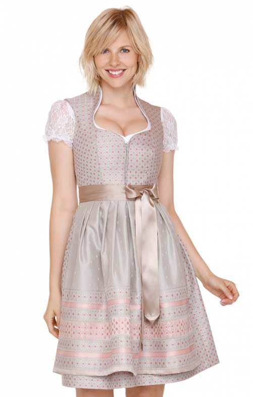 German Midi dirndl 2pcs. Svea brown pink 60 cm