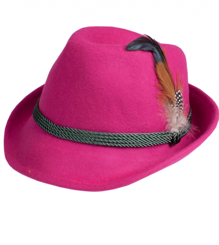 Costume hat HT750 with feather pink