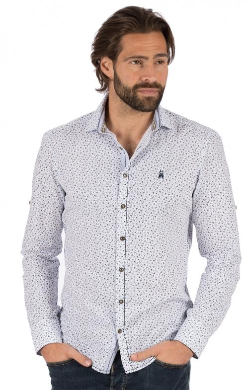 German traditional shirt long sleeve FABIUS blue white