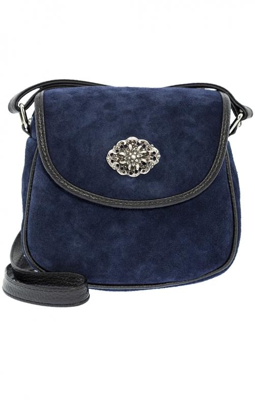 Traditional leather bag marine