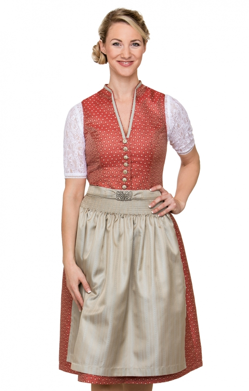 German Midi dirndl 2pcs. Janine red brown 65 cm