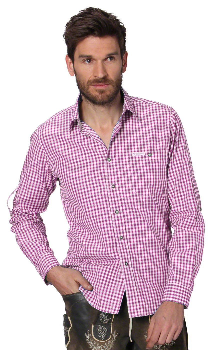 German traditional shirt checkered Campos2 berry von Stockerpoint