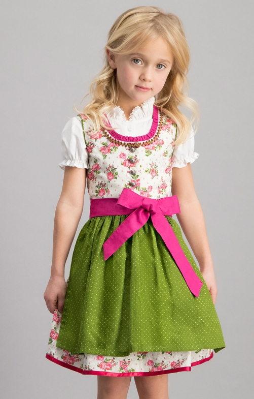 Traditional Children dirndl 3 pcs. MONI pink green