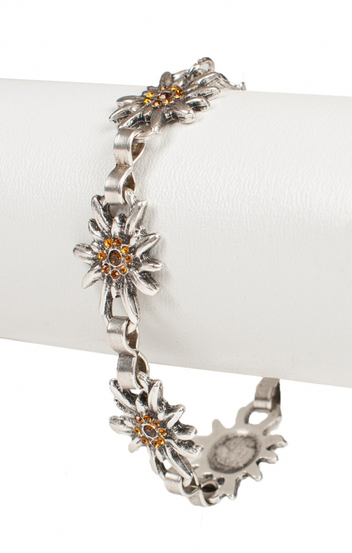 Bracelet AB9197-5 with edelweiss, brown