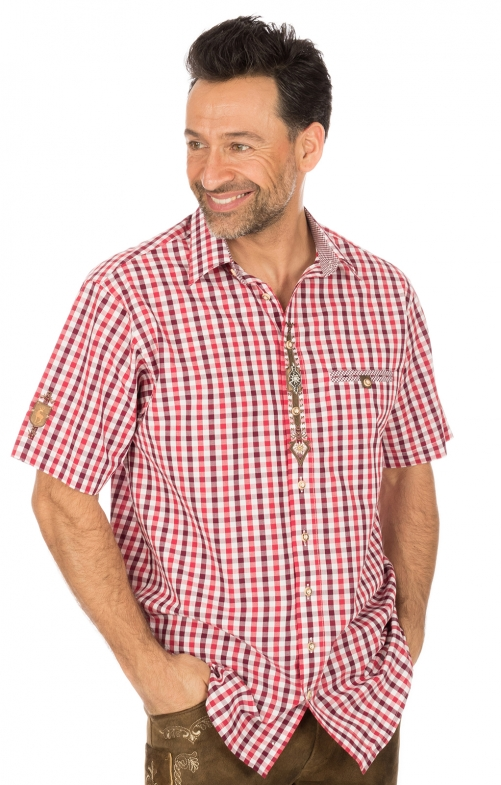 German traditional shirt short arms red
