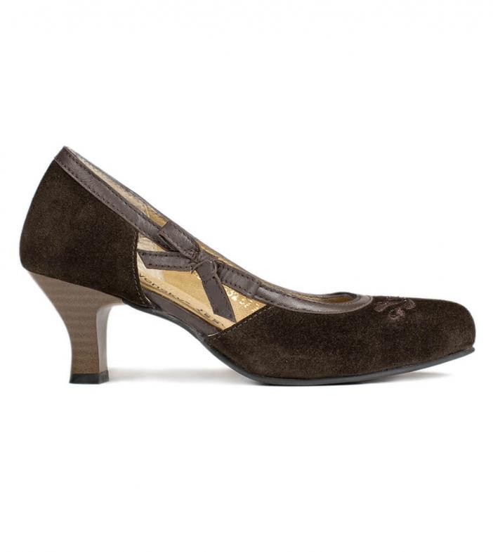 Traditional dirndl shoes D443 Valeska Pumps brown