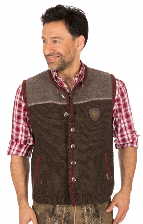 German knitted waistcoat Ramsau SW darkbrown-red