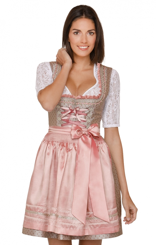 German Mini dirndl 2pcs. Mari brown pink 50 cm