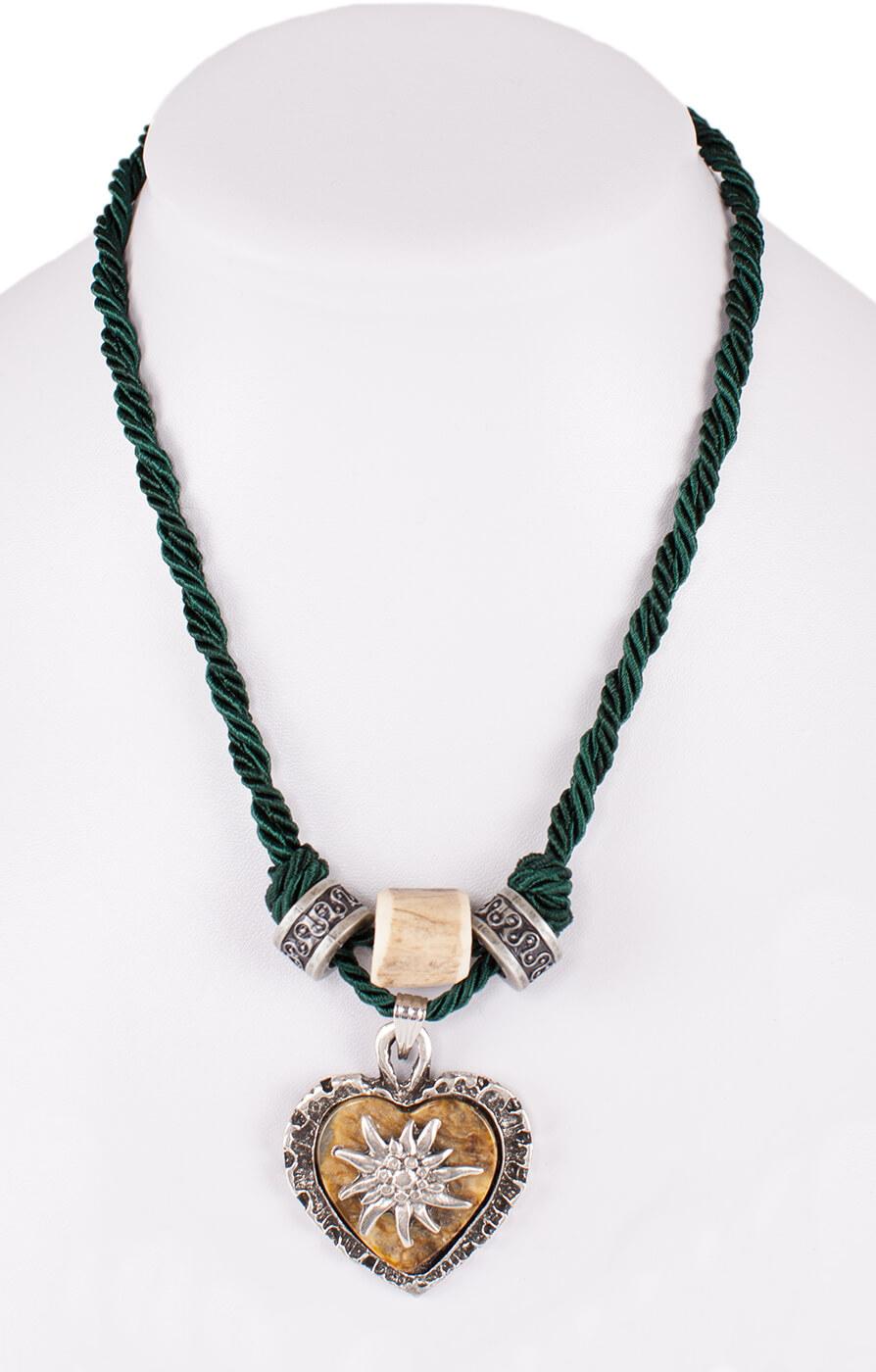 Traditional necklace uni with heart horn imitation 12189-8598 oldgreen von Schuhmacher