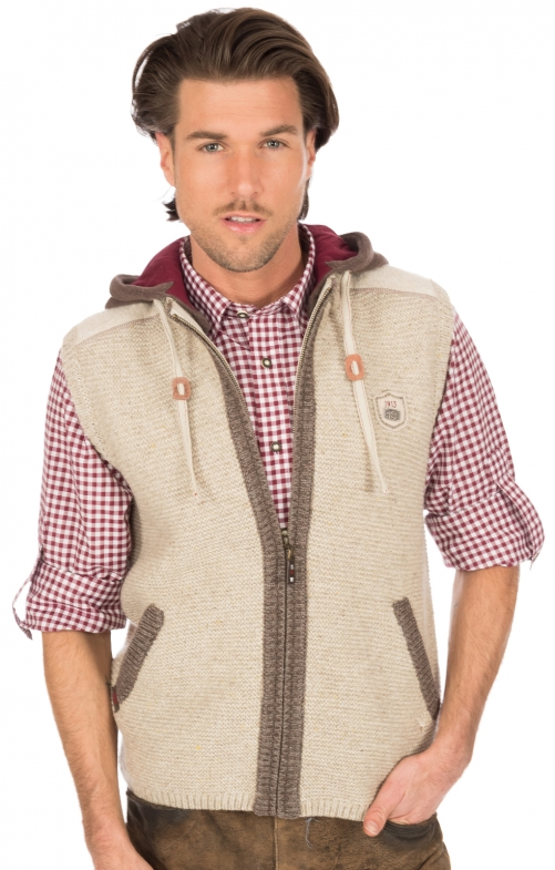 Traditional waistcoat knitted natur
