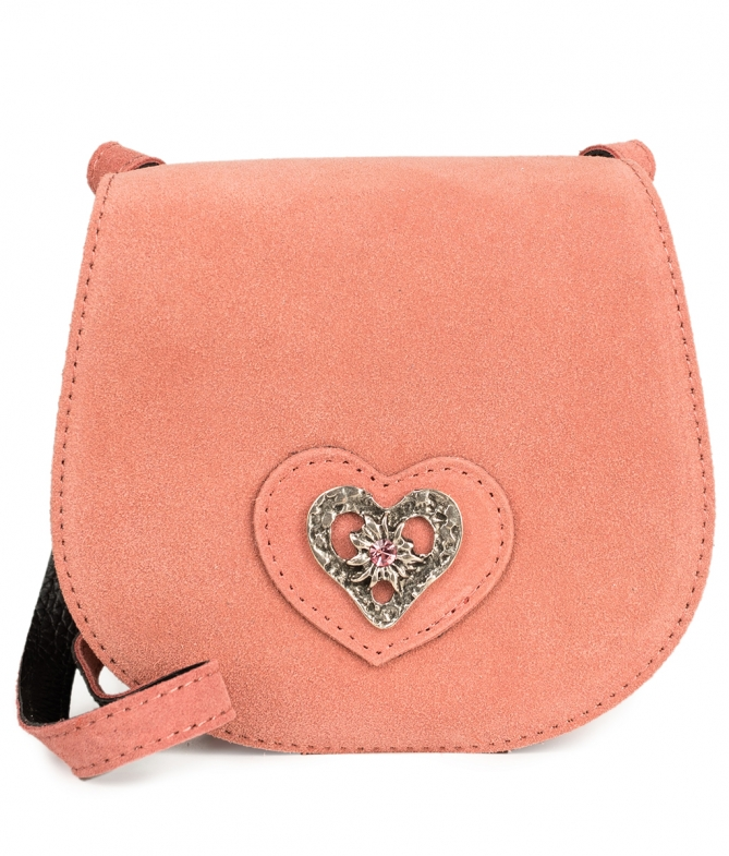 Traditional leather bag with heart TA30340-8489 pink